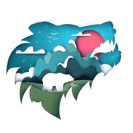 Cartoon paper landscape. Bear illustration. Vector eps 10 Illustration