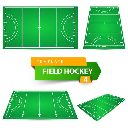 Field hockey - four items template. Vector eps 10