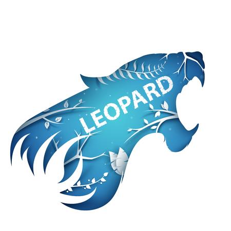 Cartoon paper branch. Leopard illustration. Standard-Bild - 110208148