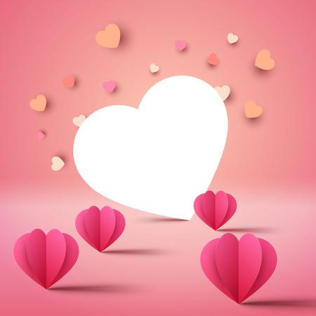 Plantilla de día de San Valentín. Amor y corazon. Ilustración de vector