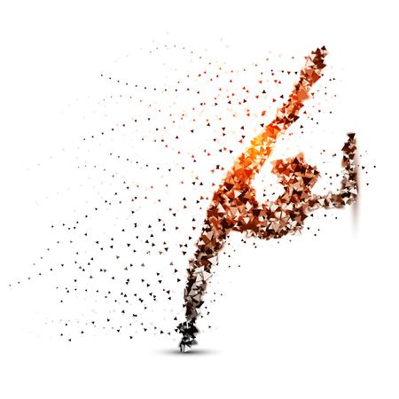 Gymnastics, sport - dot illustration on the white background.