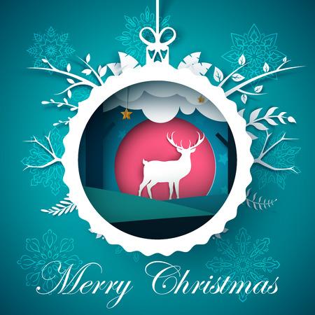 Happy new year, Merry christmas ball - winter illustration. Paper winter landscape. Deer characters. Ilustración de vector