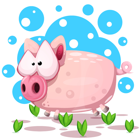 Cute pig jump. Symbol of the year 2019. Vector eps 10