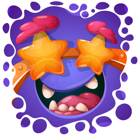 Funny, cute crazy monster character. Halloween illustration. For printing on T-shirts. Vector eps 10.