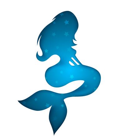 Mermaid paper illustration. Cartoon girl. Vector eps 10 Illustration