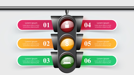 Traffic light infographic. Six items. Vector eps 10