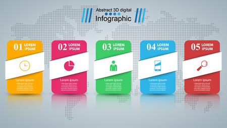 Paper business infographic. Five items. Vector eps 10