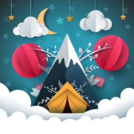 Travel paper illustration. Mountain, tent, air balloon Vector eps 10