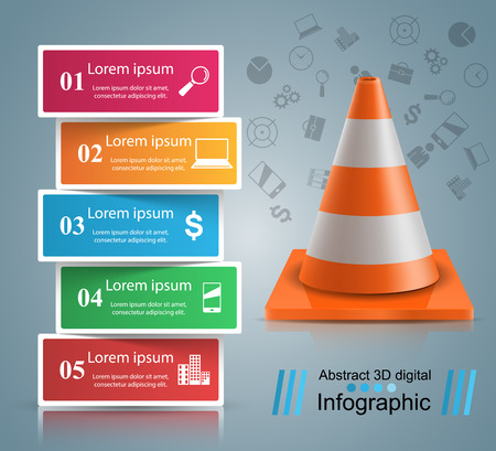 Road infographic design template and marketing icons. Vector eps 10.