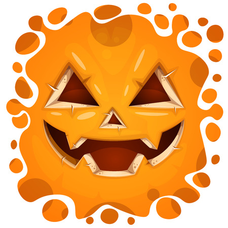 Funny, cute crazy pumpkin character. Halloween illustration. For printing on T-shirts. Vector eps 10