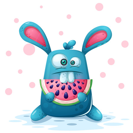 Cute rabbit illustration with watermelon. Vector eps 10 Çizim