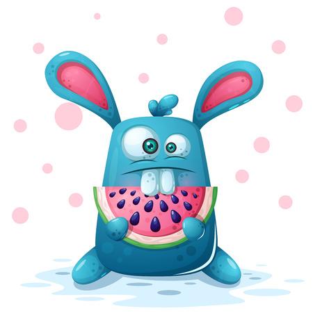 Illustrazione di coniglio carino con anguria. Vettore eps 10 Vettoriali