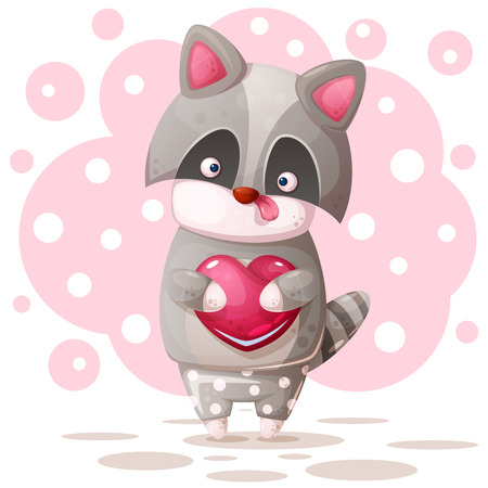 Cute raccoon with pink heart. Vector eps 10