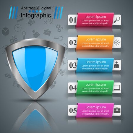 Shield, security - business paper infographic. Vector eps 10 Illustration