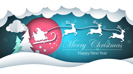Merry christmas, happy new year - paper illustration. Vector eps 10