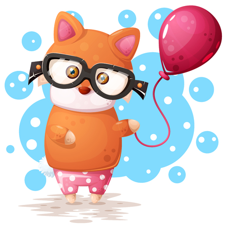 Glasses fox with pink balloon. Vector eps 10