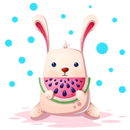 Cute rabbit illustration with watermelon. Vector eps 10 Illustration
