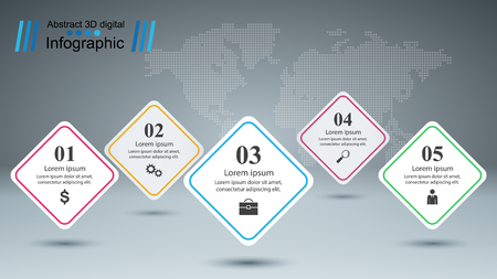 Business infographic. Five paper items. Vector eps 10 Illustration