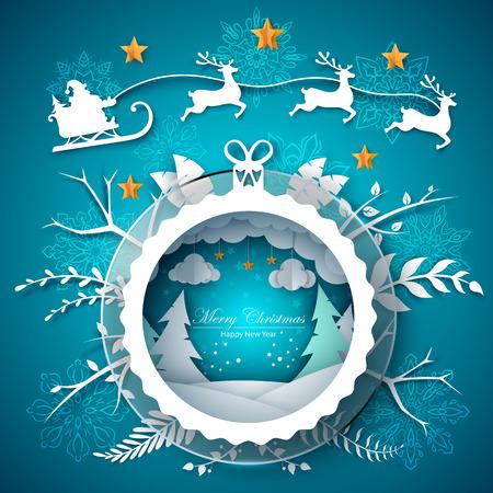 Merry christmas illustration. Cartoon paper landscape. Vector eps 10 Ilustração