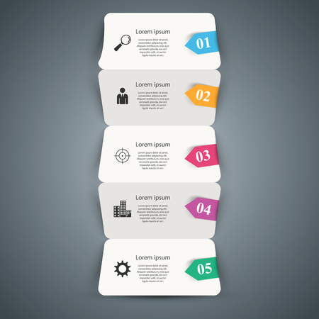 Five paper business origami infographic. Vector eps 10
