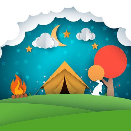 Camping, tent illustration. Paper landscape Vector eps 10