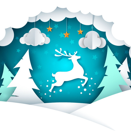 Paper cartoon landscape. Merry christmas, happy new year. Vector eps 10 Иллюстрация