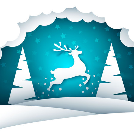 Paper cartoon landscape. Merry christmas, happy new year. Vector eps 10 Illustration