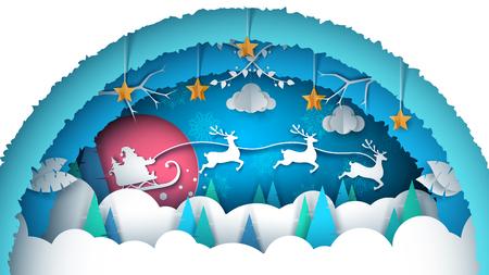 Merry christmas illustration. Cartoon paper landscape. Vector eps 10 Illustration