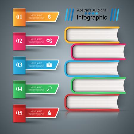 Book, read, education - school infographic Vector eps 10 Illustration