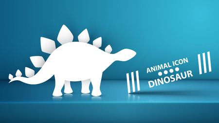 Paper dino, dinosaur illustration on the blue studio. Vector eps 10