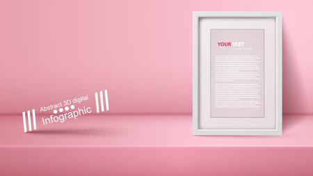 Template empty pink studio, photostudio, room Vector eps 10 Illustration