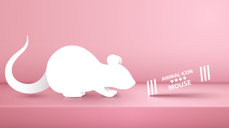Animal rat, mouse illustration on the pink studio. Vector eps 10