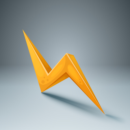 Lightning 3d icon on the grey background. Vector eps 10