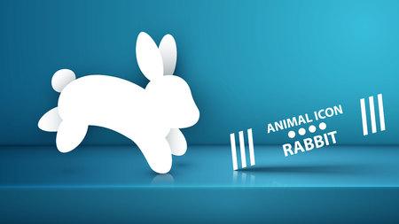 Paper rabbit icon on the blue studio. Vector eps 10