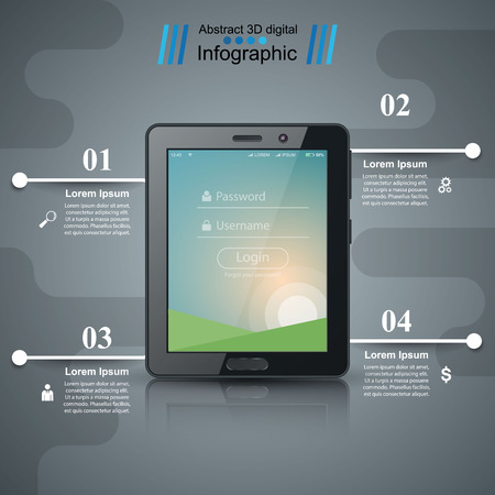 Business infographic. Digital tablet icon. Vector eps 10