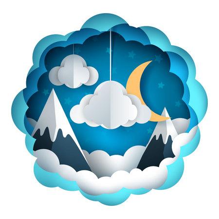 Cartoon paper landscape. Mountain illustration. Vector eps 10