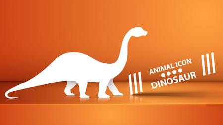 Paper dino, dinosaur illustration on the orange studio. Vector eps 10 Ilustração