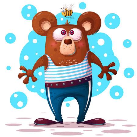 Cute, funny bear illustration. Animal character Vector eps 10 Illustration