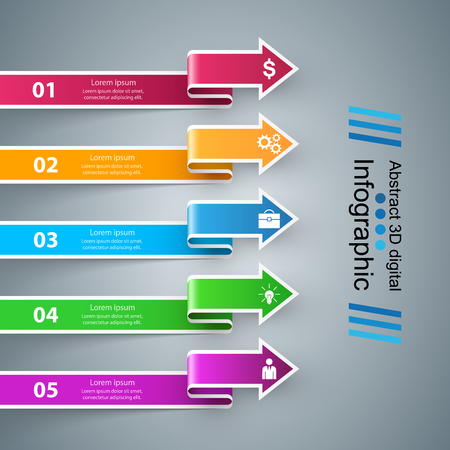 Infographic design template and marketing icons. Arrows logo. Illustration