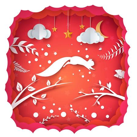Cartoon paper landscape. Squirrel illustration. Vector eps 10