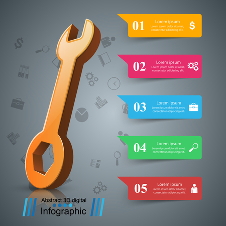 Wrench, screwdriver, repair icon Business infographic Vector eps 10
