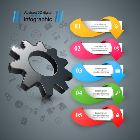 Business Infographics origami style Vector illustration. Gear icon. Иллюстрация