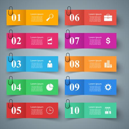 Business papr infographic. Ten items. Vector eps 10