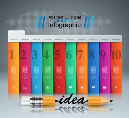 Pencil, idea - business education infographic. Vector eps 10