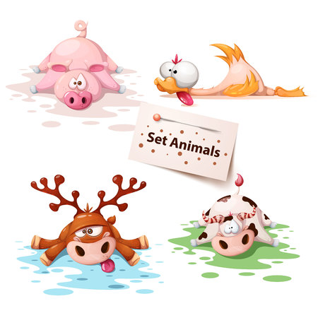 Set sleep animals - pig, duck, deer, cow Illustration