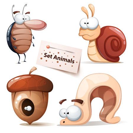 Cafard, escargot, noix, ver - ensemble d'animaux