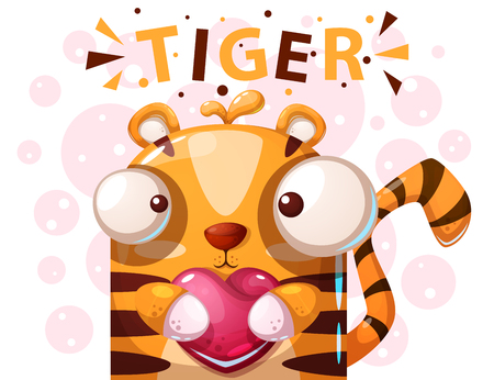 Cute tiger character - cartoon illustration. Vector eps 10 Illustration