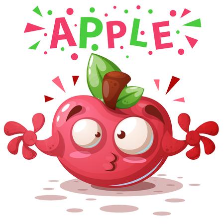 Cute apple illustration - cartoon characters. Vector eps 10 Stock Illustratie