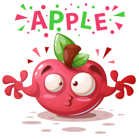 Cute apple illustration - cartoon characters. Vector eps 10 Illustration