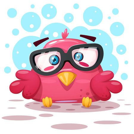 Cute bird illustration. Cartoon characters. Vector eps 10
